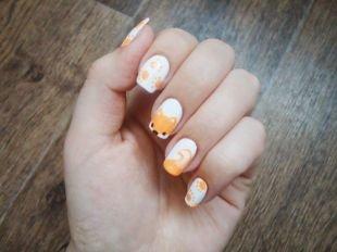 Оранжевый маникюр, оригинальный маникюр с лисичкой