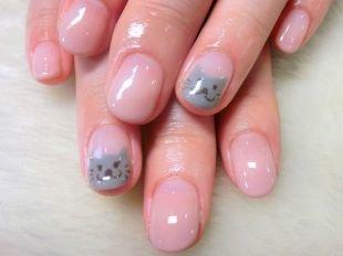 Легкие рисунки на ногтях, маникюр с котиком