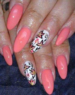 Коралловый маникюр, нежный розовый маникюр с цветочками