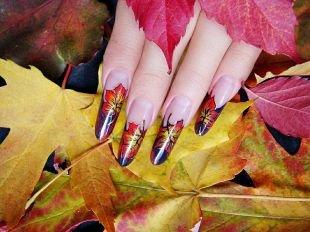 Рисунки с листьями на ногтях, осенний дизайн ногтей