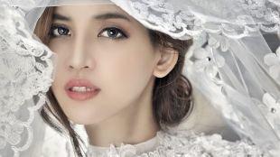 Азиатский макияж, свадебный макияж для серых глаз