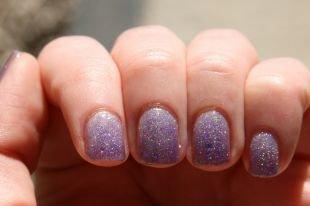 Маникюр своими руками, градиентный блестящий маникюр на коротких ногтях
