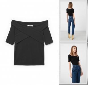 Черные футболки, футболка mango, осень-зима 2016/2017