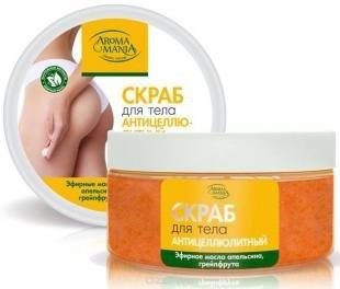 """Скраб для проблемной кожи, аромамания """"антицеллюлитный"""" скраб для тела с эфирными маслами апельсина, грейпфрута, 250 мл"""