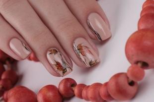 Осенние рисунки на ногтях, осенний маникюр