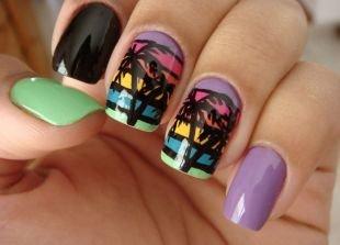 Сиреневый маникюр, разноцветный маникюр с пальмами