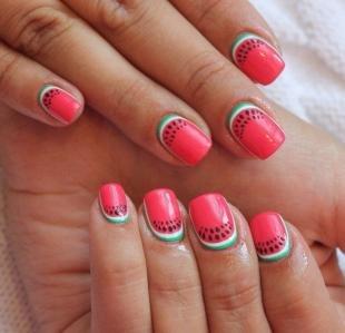 """Рисунки на ногтях иголкой, летний маникюр """"арбузные дольки"""""""