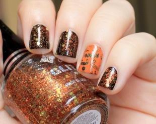 Коралловые ногти с рисунком, осенний маникюр с блестками