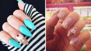 """Рисунки на острых ногтях, дизайн ногтей """"мороженое"""""""