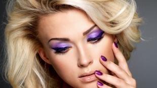 Свадебный макияж с фиолетовыми тенями, фиолетовый макияж глаз