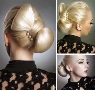 Модные женские прически, прическа бант из волос с украшением