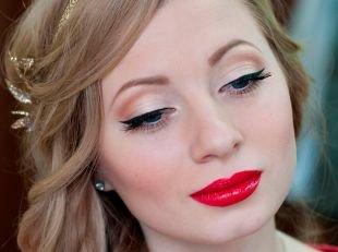 Свадебный макияж с красной помадой, праздничный макияж с ярко-красной помадой