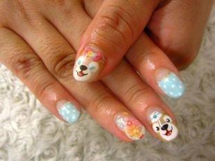 Комбинированный маникюр, милый маникюр с мишками, белым горошком и цветочным принтом