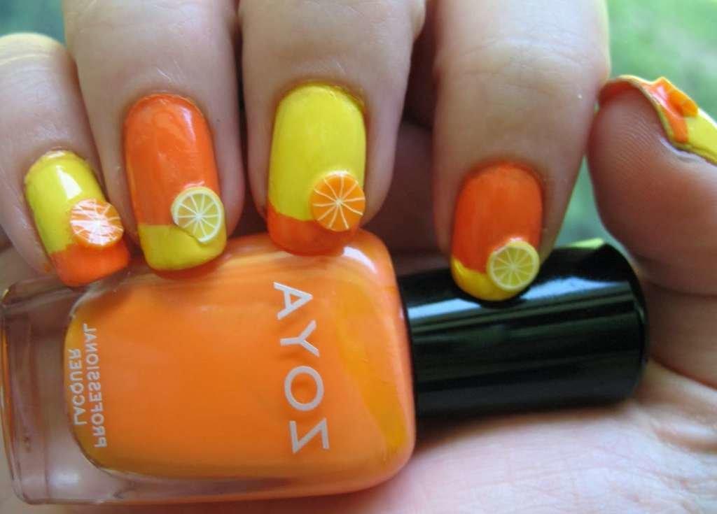 Ногти оранжево желтые