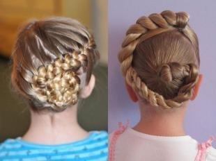 Натурально русый цвет волос, прически для девочек с косами
