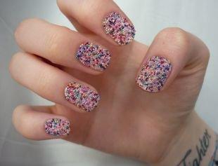 Красивый дизайн ногтей, икорный разноцветный маникюр