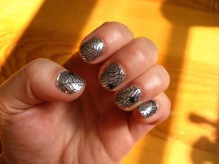 Рисунки с животными на ногтях, серый маникюр-паутинка