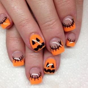 Оранжевый маникюр, оранжевый френч на хэллоуин