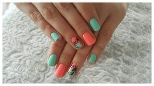 Оранжевый маникюр, летний дизайн ногтей