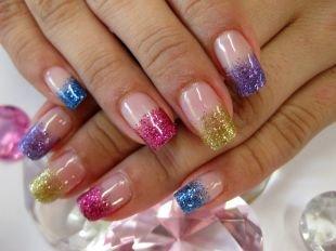 Маникюр на широкие ногти, разноцветный френч
