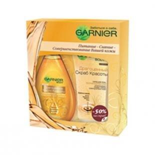 Мягкий скраб, garnier набор ultimate beauty. драгоценное масло красоты (объем 150 мл + 200 мл)