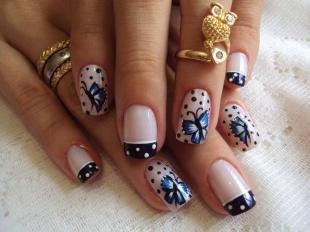 Рисунки на ногтях иголкой, черный френч с бабочками