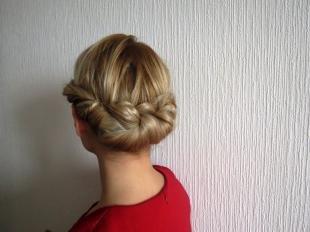 Греческая причёска с повязкой на длинные волосы, прическа на скорую руку