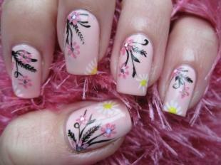 Рисунки ромашек на ногтях, светлый маникюр с ромашками