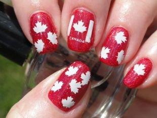 """Дизайн коротких ногтей, тематический маникюр """"канада"""""""