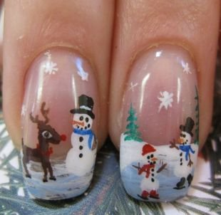 Нарощенные ногти, маникюр со снеговиками