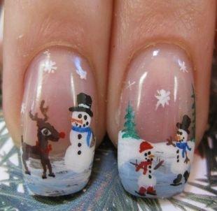 Рисунки белым лаком на ногтях, маникюр со снеговиками