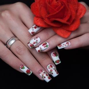 Красно-белый маникюр, маникюр с розами