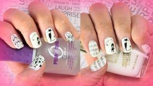 Рисунки на ногтях, газетный маникюр с котиками