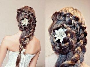 Вечерние прически, французская коса