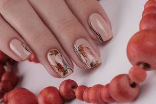 Рисунки с листьями на ногтях, осенний маникюр