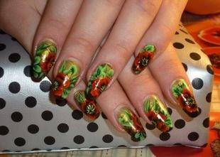 Рисунки с листьями на ногтях, китайская роспись на ногтях - маки
