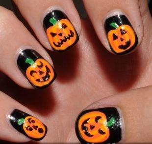 Простейшие рисунки на ногтях, маникюр на хэллоуин с тыквами