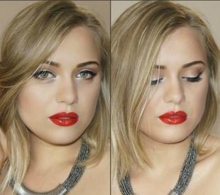 Голливудский макияж, эффектный вечерний макияж для круглого лица