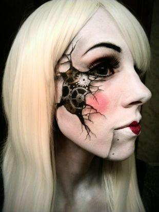 Легкий макияж на хэллоуин, устрашающий белый грим на хэллоуин