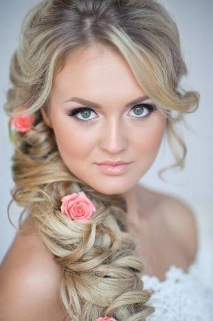 Свадебный макияж для круглого лица, нежный свадебный макияж для зеленых глаз и светлых волос