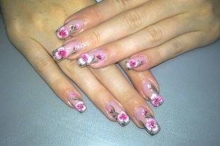 Сиреневый маникюр, китайская роспись на ногтях - цветок трилистник