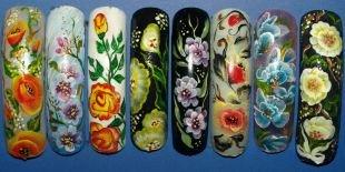 Осенние рисунки на ногтях, китайская роспись ногтей - цветочные мотивы